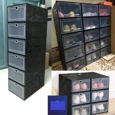 Combo 6 Hộp Giày Màu Đen, Hộp Đựng Giày Dép Nắp Nhựa Cứng Lắp Ráp Thông Minh – Hop Dung Giay Size Lớn (Tặng Gói Hút Ẩm)