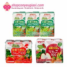 [HCM]Nước Ép Trái Cây Cho Bé Pigeon Nhật Bản Vị Táo – 3 Hộp/Lốc x125ml