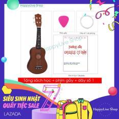 Đàn Ukulele Soprano Gỗ (cần gỗ) – Tặng sách học + phím gảy + dây dự phòng – HappyLive Shop