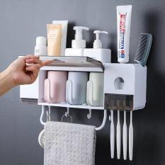 Bộ nhả kem đánh răng kèm kệ để đồ nhà tắm thông minh 3 cốc