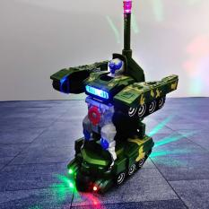 Đồ Chơi Xe Tăng Biến Hình Robot – Có Nhạc, Đèn Led rất Đẹp [Tặng kèm 03 cục Pin]