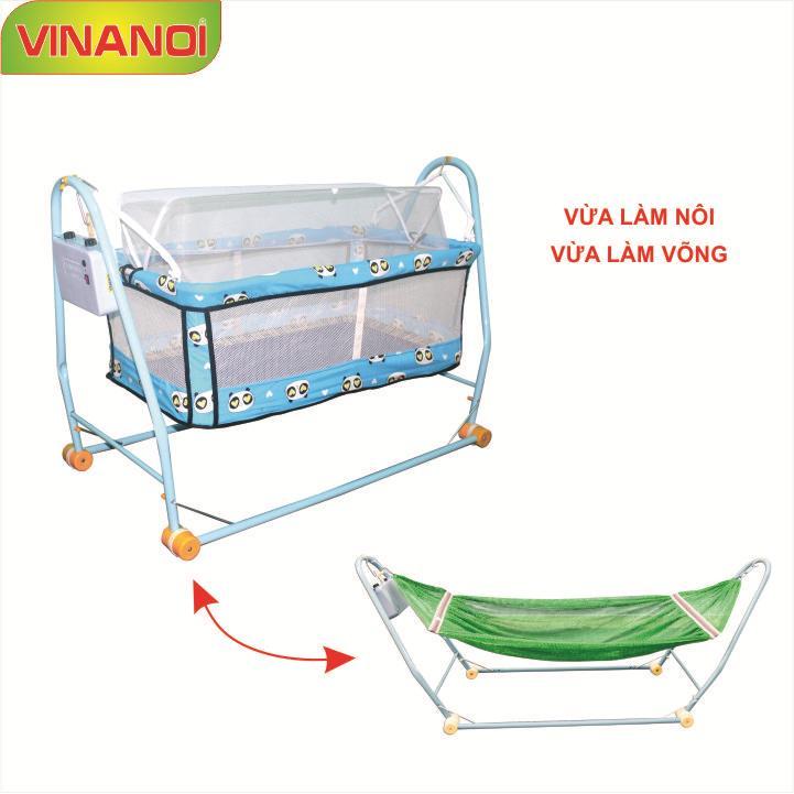 Nôi Võng tự động cho bé 2 trong 1 VINANOI - NV20 màu xanh