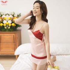 Váy ngủ 2 dây lụa Pháp mềm, mịn, bóng không nhăn mùa hè cao cấp phối 2 tone màu hiện đại Vingo N238