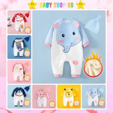 Quần áo trẻ em body dài tay kèm mũ in hình động vật dễ thương cho bé trai bé gái 0 đến 12 tháng tuổi
