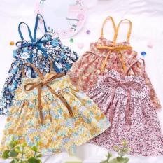 Đầm váy bé gái 2 dây hoa nhí 4 mầu XHM616