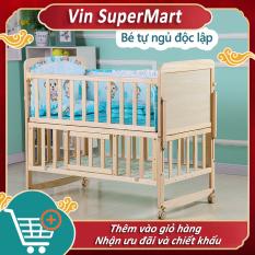 [HCM]giường em bé gỗ mộc đa chức năng nhiều tầng nôi em bé không phun sơn có thể di động