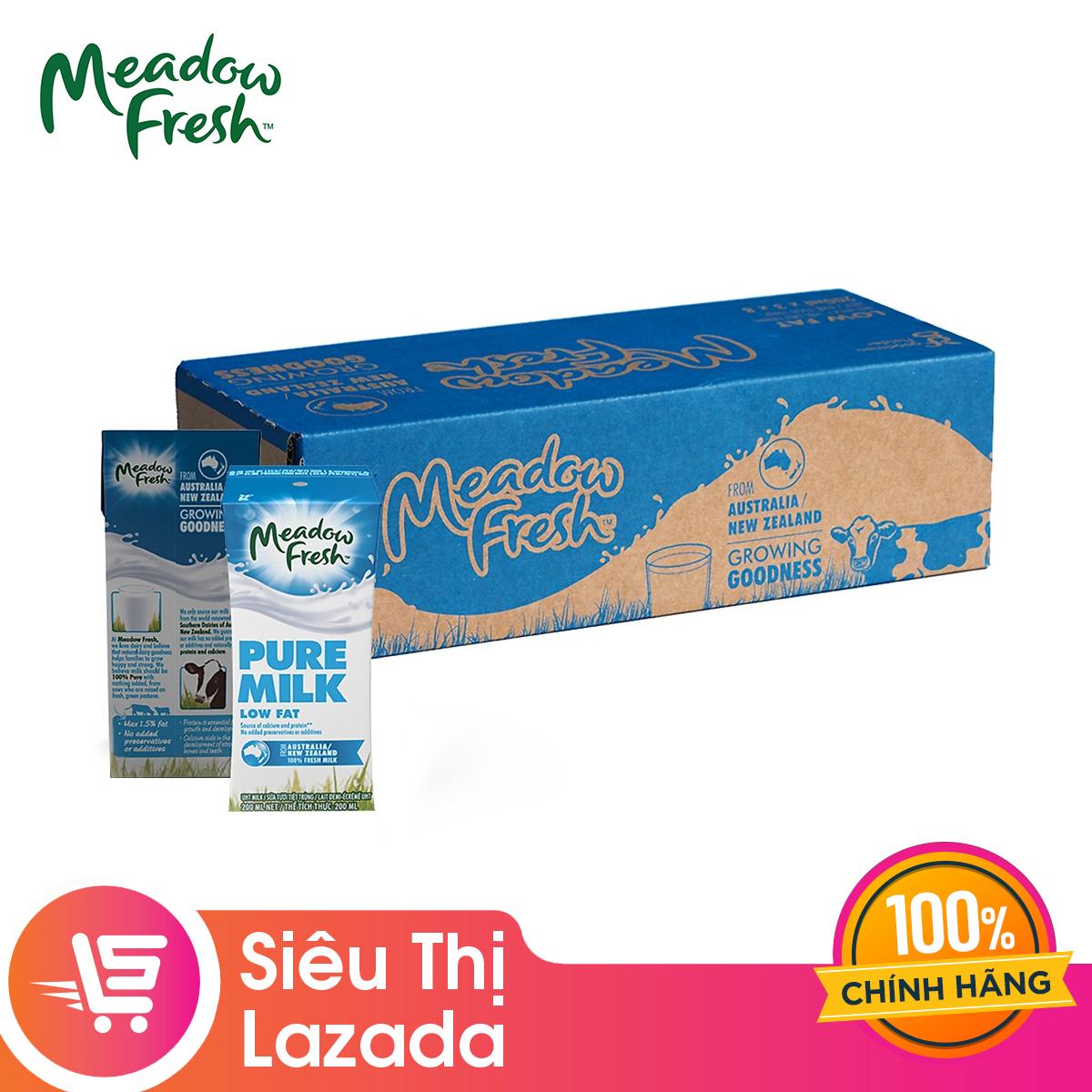 [Siêu thị Lazada] Thùng 24 Hộp Sữa Tươi Tiệt Trùng Ít béo Meadow Fresh 200ml không đường (24 hộp x 200ml), Hương Vị Thơm Ngon Bổ Dưỡng