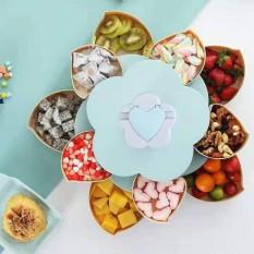 Khay đựng mứt tết bánh kẹo hoa quả 2 tầng 10 cánh xoay 360 độ, có kèm khe giá đỡ điện thoại thông minh tiện dụng.(Mẫu mới 2021)