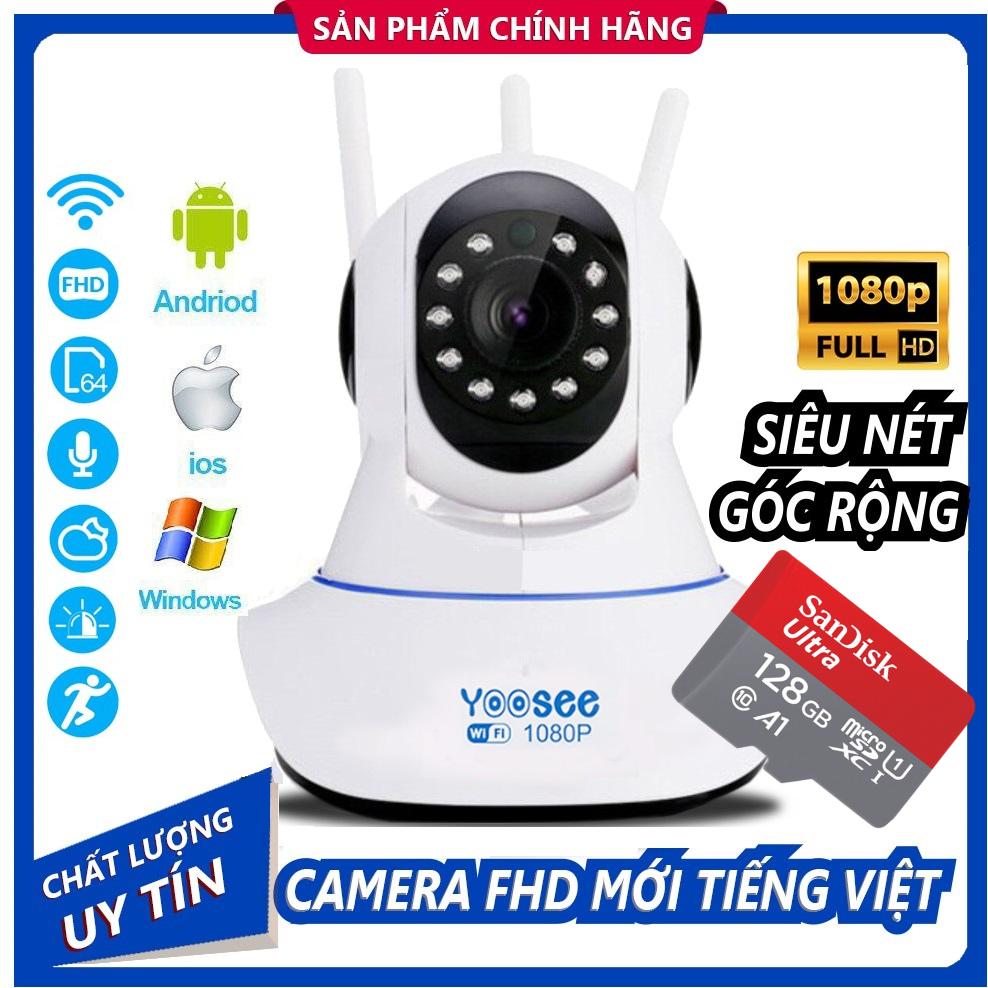(KÈM Thẻ Nhớ SD YOOSEE 128 GB BẢO HÀNH 2 năm)Camera IP Wifi Yoosee 3 Râu xoay 360 độ độ phân giải FULL HD 2.0MP 1920x1080p Không DâyCamera trong nhàngoài trời Camera hồng ngoại tích hợp ghi âmlưu trữ dữ