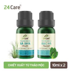 Combo 2 chai Tinh dầu Sả Java & Tinh dầu Bạc Hà 24Care – Dung tích 10ml/100ml