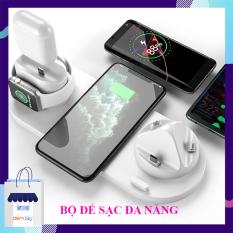 Đế sạc không dây 6 trong 1, sạc nhanh chuẩn an toàn, sạc không dây điện thoại samsung, iphone, sạc đồng hồ thông minh aple watch, tai nghe Airpods, bộ 3 chân sạc micro usb, type C, lightning