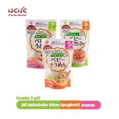 Combo 3 gói mì ăn dặm Hakubaku Baby Somen + Spaghetti + Udon