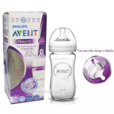 Bình Sữa Thủy Tinh Avent Cho Bé Mô Phỏng Tự Nhiên 240ml SCF673/13 – Đơn- Hàng Chính Hãng
