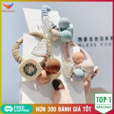 Set 4 Dây Buộc Tóc Cao Cấp Hàn Quốc (Hàng nhập khẩu) – Sang trọng, dễ thương, mẫu đẹp, chất liệu dây buộc cao cấp, mềm, co giãn tốt, không kén tóc – Dây cột tóc, cột tóc nữ, chun buộc tóc, thun buộc tóc – NASI Store