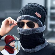 [TẶNG KÈM KHĂN] Set khăn mũ len cao cấp cho nam giới – Mũ nón kèm khăn len lót lông siêu ấm thời trang phong cách ( màu nâu hoặc đen)-Mũ len đôi cho cả nam và nữ