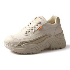 Giày thể thao sneaker nữ phong cách ulzzang hàn quốc da mềm viền tim chữ độn đế màu trắng và xám giá rẻ chất siêu đẹp