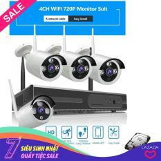 Bộ 4 Camera WIFI 720P + Đầu Ghi NVR HD + Tặng Ổ Cứng Lưu Trữ 250GB