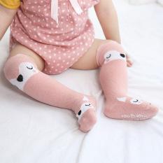 Tất cổ dài ZAKUDO chống trượt, tất cao cổ thu đông chất cotton hình động vật co giãn cho bé trai, bé gái TTE02