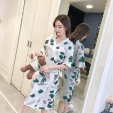 Áo choàng nữ mặc nhà – áo choàng mặc ngủ vải cotton mát mẻ DN014
