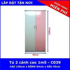 Tủ nhựa Đài Loan cao 1m5 2 cánh – C039 ( 84cm x 45cm x 150cm )