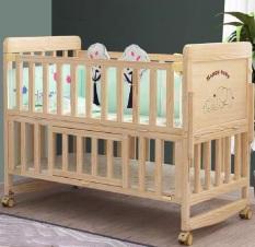 Cũi nôi cho bé – cũi gỗ thông, 2 tầng, có màn, có bánh xe, có thể chuyển thành nôi lắc lư. KAWAII HOME