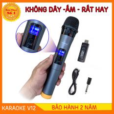 [BẢO HÀNH 1 ĐỔI 1] micro karaoke bluetooth không dây v12 – micro karaoke bluetooth không dây cao cấp – micro karaoke không dây cho amply và loa karaoke – Hỗ trợ các thiết bị có jack cắm 3.5mm và 6.5mm