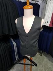 Áo gile nam ôm body màu xám đậm chất vải dày mịn tặng kèm nơ