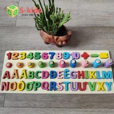 Bảng chữ cái tiếng việt hoa và số đếm, Đồ chơi gỗ thông minh cho bé.