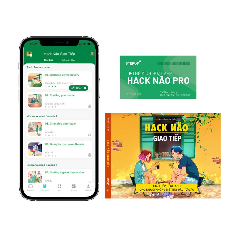 Sách – Tiếng Anh Hack Não Giao Tiếp (2021) – Có App học giao tiếp nhiều chủ đề và chấm điểm phát âm bằng AI