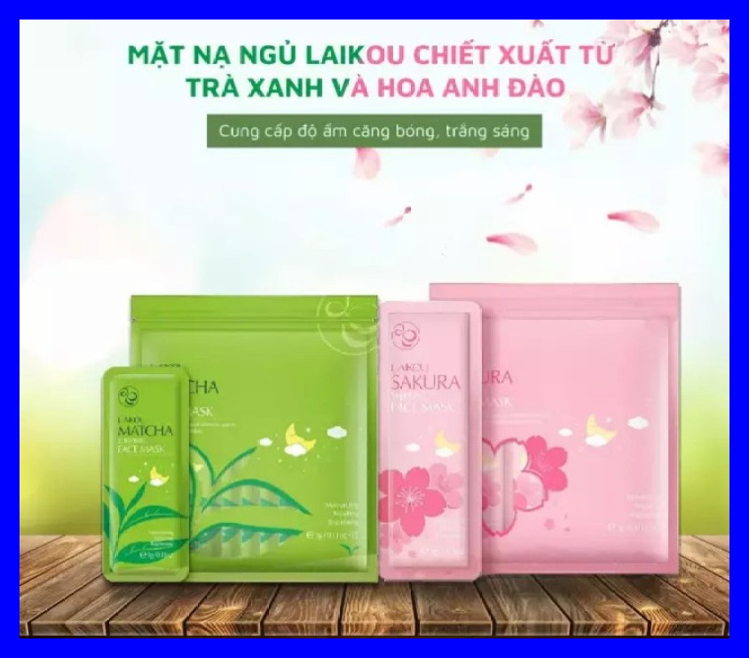 [COMBO 2 BỊCH] gồm 15 gói mặt nạ ngủ trà xanh và 15 gói mặt nạ ngủ hoa anh đào LAIKOU (1 bịch gồm 15 túi nhỏ)