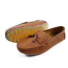 Giày Lười Cho Bé Trai Da Bò Thật Siêu Mềm Siêu Bền BY04MC Vàng)