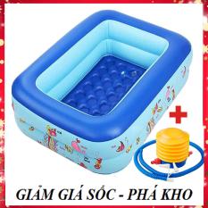 [XẢ KHO- ĐẠI HẠ GIÁ-Phí ship rẻ] Bể bơi phao cho bé hình chữ nhật họa tiết dễ thương (Kích thước 120 x 95 x 35 cm) giúp bé tập bơi và vui chơi trong thời tiết nắng nóng – có tặng kèm keo và miếng vá – G12