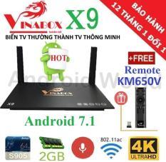 Android Tivi Box VINABOX X9 (Android 7.1, Voice Search) + Tặng Remote KM650V Tìm Kiếm bằng Giọng Nói- Phân phối bởi Android World