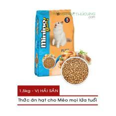 Thức ăn hạt cho Mèo mọi lứa tuổi Minino Yum! gói 1,5kg – Vị Hải Sản – [Nông Trại Thú Cưng]