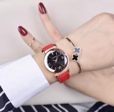 flashsale đồng hồ 6 cánh hoa dây da đỏ