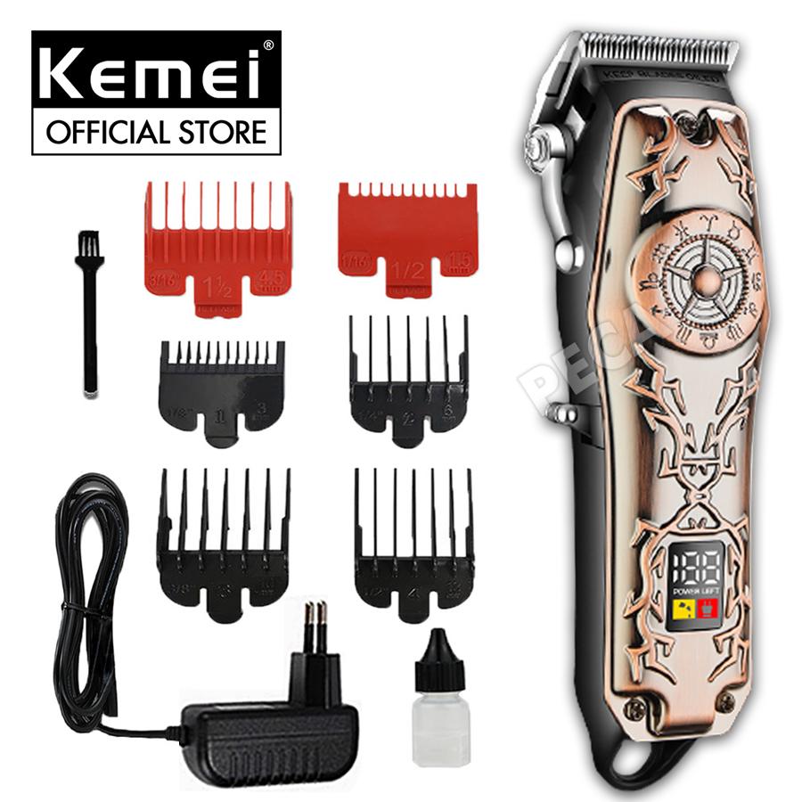 Tông đơ cắt tóc chuyên nghiệp KEMEI KM-2617 có màn hình LED theo dõi pin công suất mạnh mẽ 5W, vỏ ngoài hoa văn sang trọng thích hợp sử dụng salon, tiệm tóc, barber shop