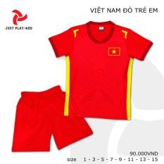 Bộ quần áo đá banh Việt Nam đỏ cho bé gái – Thoáng Mát – Thoải Mái
