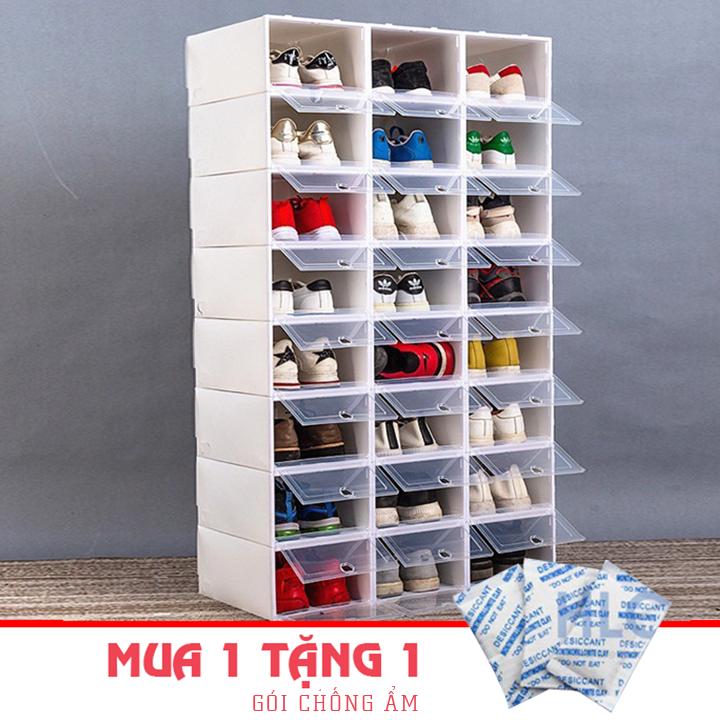 Combo 10 Hộp đựng giầy dép trong nhà trong suốt nắp nhựa cứng cáp size lớn chịu tải 4kg, Tặng thêm gói hút ẩm