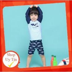 [Lấy mã giảm thêm 30%]Bộ quần áo bơi kèm mũ dành cho bé xuất Nhật Shark Bros