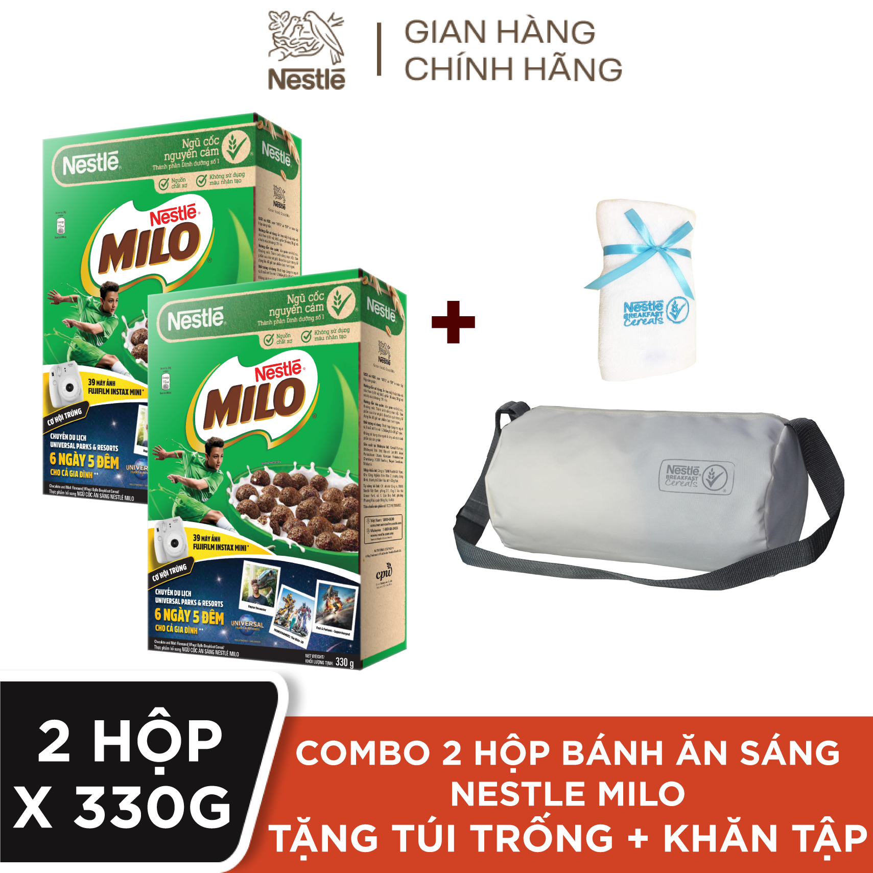 [Tặng Combo 1 túi trống thể thao + 1 khăn tập gym] 2 Hộp Ngũ cốc ăn sáng Nestlé MILO – Hộp 330g