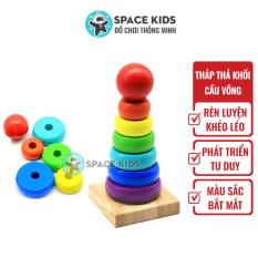 Đồ chơi gỗ thông minh Space Kids xếp Tháp gỗ cầu vồng nhiều màu cho bé, chất liệu gỗ tự nhiên