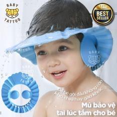 BABY TATTOO Mũ bảo vệ tai lúc tắm cho bé Mũ gội đầu cho bé Mũ trẻ em chống nước