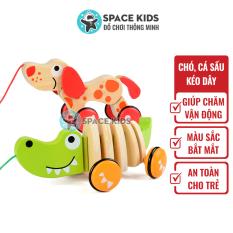 Đồ chơi trẻ em Cá sấu gỗ, chó gỗ có dây kéo cho bé vận động, vui chơi Space Kids, chất liệu gỗ tự nhiên, nhiều màu sắc
