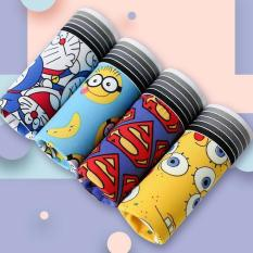 C1 Set combo 4 quần lót nam boxer xuất Âu kháng khuẩn kiểu hoạt hình Doraemon, Superman, Spongebob, Minions độc lạ