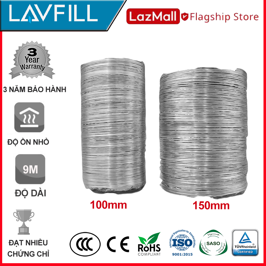 Ống dẫn gió mềm, ống thông gió bạc chịu nhiệt cao chính hãng LAVFILL LFP-09/13.