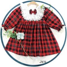 Đầm Bé Gái Phối Cổ Bèo Pha Ren Xinh Xắn, Váy Bé Gái Mùa Noel Tết Dễ Thương