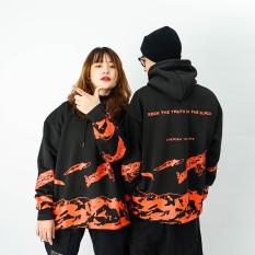 Áo khoác mũ Hoodie Unisex N7 Black Truth V2 nỉ bông cặp đôi nam nữ Oversize Ulzzang Hàn Quốc thu đông form rộng