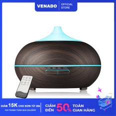 Máy xông tinh dầu hình bí ngô vân gỗ 500ml có remote led 7 màu tự động tắt khi hết nước Venado