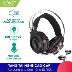 [Bảo Hành 12 tháng 1 đổi 1] Tai nghe chụp tai Gaming ROBOT RH-G20 âm thanh rõ nét không lẫn tạp âm , dây dù bền bỉ chống rối , co giãn tốt có đèn LED 7 màu Phù hợp cho Game thủ – Hàng chính hãng