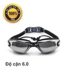 Kính bơi cận 1940 Đen độ cận 6.0 độ có gắn nút bịt tai ngăn nước; mắt kính chống tia UV, kiểu dáng thời trang